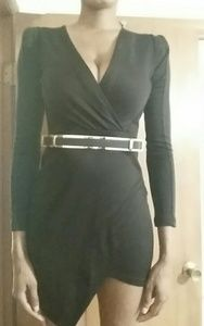 Small long sleeve asymmetrical black dress